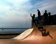 Il turno (meghimeg) Tags: shadow sea sky waiting mare ombra explore genova cielo skateboard attesa 2013