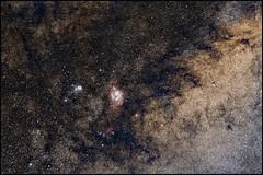 Wide Field - Lagoon and Trifid Nebulas (Teva CHENE) Tags: canon astronomy 135l baader 450d pixinsight astrotrac Astrometrydotnet:status=solved Astrometrydotnet:version=14400 backyardeos Astrometrydotnet:id=alpha20130416161969