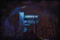 Montreal Biosphere at Night (jta1950) Tags: travel blue night lights montreal biosphere dome nuit expo67 ilestehelene parcjeandrapeau sthelensisland