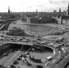 """Slussen"" seen from Katarinahissen, Stockholm. July 1966 (iEagle2) Tags: blackandwhite bw 6x6 analog mediumformat blackwhite 60s stockholm streetphotography 1966 slussen analogue zeissikon katarinahissen oldtowm analogfilm lefthandtraffic"