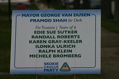 Skokie Caucus Sign (niureitman) Tags: party illinois mayor skokie clerk electionsign trustee 2013 skokieillinois politicalpartysign april2013 april92013election skokiecaucusparty
