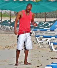 Beachcomber (Legin_2009) Tags: red man male men beach seaside sandals flipflops caribbean shorts boardshorts blackman blackmale singlet muscleshirt beachwear