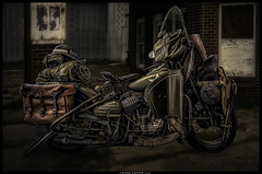 Evening Patrol (Konaflyer) Tags: sunset art composite army nikon antique military rifle harley motorcycle mp shovel icehouse davidson hdr nightstick footboards saddlebags d7000 markpatton p7700