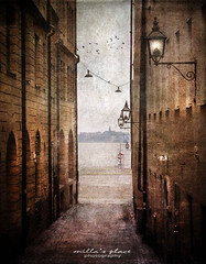 In an Alley Somewhere (Milla's Place) Tags: street city sea water alley sweden stockholm textures alleyway lanterns gamlastan oldtown textured tatot magicunicornverybest bestevercompetitiongroup