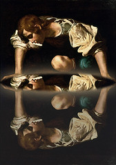 Narcissus - Caravaggio (Prince of the Blue Moon) Tags: world reflection art pool painting circle mirror image narcissism surface baroque universe caravaggio understanding narcissus interpretation selflove introspection alberti classicalmythology