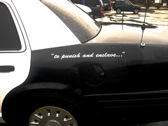 To Punish and Enslave... (thOs One aka thosalumpagus) Tags: street old white black detail car cops protest police motto pigs squad 50 punish protect serve toprotectandserve enslave topunishandenslave