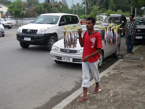 An itinerant fish vendor in Dili, Timor-Leste. Photo by Jharendu Pant, 2010.
