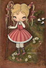 (the poppy tree) Tags: pink flowers original art girl fairytale painting print sheep nursery canvas rhyme littlebopeep thepoppytree