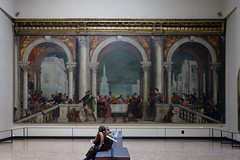 View of Paolo Veronese, Feast in the House of Levi with viewers
