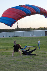 """Boogie Bonanza 2013, successful beer handoff, swoop & chug (divemasterking2000) Tags: party sky skydiving flying spring al jump jumping alabama dive diving celebration gathering western april boogie theme skydive canopy themed dropzone parachuting apr sda parachute dz bonanza canopies skyjump gather parachutes skyflying """"western skyfly 2013 skyjumping theme"""" """"boogie alabama"""" """"skydive bonanza"""" themed"""""""