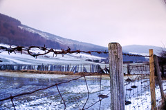 Fence (Saturated Imagery) Tags: mountain snow film wales 35mm fence slidefilm e6 conwy moel canoneos300 cwmpenmachno kodakektachrome100g