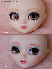 Before & After - Pullip Xiao Fan (-Poison Girl-) Tags: new pink girl hair eyes doll closed long dolls eyelashes bald makeup before dot planning jp wig mao groove after pullip freckles poison dots custom pullips jun poisongirl polkadot customs isul faceup eyechips junplanning rewigged pullipcustom rechipped isuls isulmao trisquette babygdragon