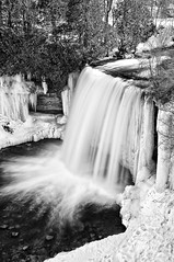 bridal veil falls, manitoulin island, ontario (twurdemann) Tags: 5seconds bw blackandwhite blur bridalveilfalls colorefex detailextractor frozen gnd2s ice icicle kagawong kagawongriver lakehuron manitoulinisland mudgebay nd106 neutraldensityfilter niagaraescarpment niksoftware northchannel northernontario one ontario plungewaterfall silverefex snow spring sunny tonalcontrast vantage viveza water waterfall winter winterspring