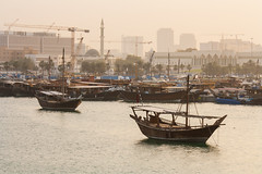 Anchored (derekbruff) Tags: sunset corniche qatar dhow