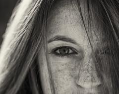 Lindsay V (K.R. Watson Photography) Tags: blackandwhite woman closeup hair nose eyes headshot freckles blackwhitephotos