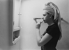 Simplicity (Lauren Finkel Photography) Tags: morning portrait blackandwhite bw film towel toothbrush gender