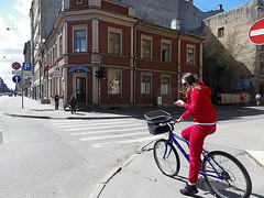 Girl with bike in corner of Artilerijas Street and A.Caka Street in Riga, Latvia. May 1, 2013 (Vadiroma) Tags: street city building girl bicycle corner buildings wooden europe crossing capital baltic latvia riga lettland rga latvija baltikum woodenarchitecture lettonie 2013 aleksandracakastreet artilerijasstreet