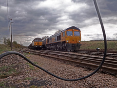 GBRf 66713 and DCR 56301 at Thoresby Colliery Junction (thestig2) Tags: grid mine cornwall go shed rail junction class devon round gb merry coal railways 56 mgr colliery dcr thoresby railfreight gbrf 56301 667013