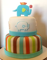 Zutano inspired cake. (DeLisious1) Tags: elephant bird cookies cake babyshower royalicing decoratedcookies zutano