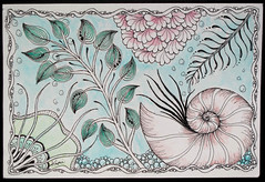 Postcard Swap (kimimela-fae) Tags: pencils watercolor micron neocolor zentangle