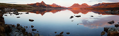 Stac Pollaidh Sunset panorama (amcgdesigns) Tags: sunset orange reflection water canon reflections landscape eos scotland highlands rocks northwest unitedkingdom stones may calming scottish calm loch atmospheric gloaming lightroom achiltibuie assynt eos7d sunsetsandsunrisesgold cloudsstormssunsetssunrises lightroom4 andrewmcgavin badgersden2013