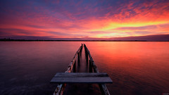 Fire & Ice (Visual Clarity Photography) Tags: wood longexposure winter sunset sky cloud june nikon dusk timber decay jetty c