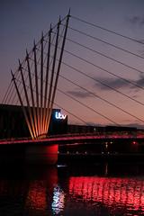 8700 Salford Quays (Ian_Boys) Tags: salford quays manchester fuji fujifilm xpro1 35mm night itv bridge