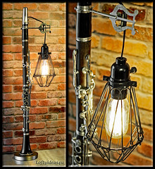Clarinet repuprosed into a Lamp with hanging wire cage light. (https://www.facebook.com/loftyideas4u) Tags: music clarinet repurposed silver lyre black wire light cage vintage edison bulb musical ensemble charm character urban loft loftyideas4u ebau etsy facebook instagram steampunk industrial hipster sale