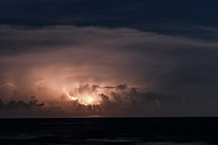 A storm is brewing in the east (agruebl) Tags: lightning storm thunderstorm florida gulfofmexico gewitter blitz horage eclair sea meer mer clouds wolken nuages wetterleuchten