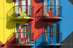Balconies and shadows (Jan van der Wolf) Tags: map15199v huizen houses flat balkons balconies shadows heesterveld colors kleuren herhaling repetition amsterdam
