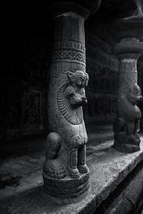 Vaikunta Temple (rameshsar) Tags: kancjipuram temple vaikuntanatha fuji xt1 1024 tiger pillar light bw mono shade art