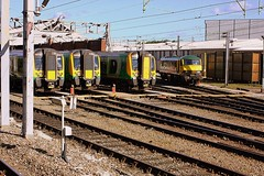 Desiro Line up at Crewe (Chris Baines) Tags: london midland 4 car class 350 desiro emus freightliner 90 ac electric
