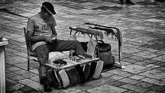 Shoeshine And Laces (Alfred Grupstra Photography (2-11 back)) Tags: bw blackandwhite laces man people shoeshine street streetphotography streetlife struga municipalityofstruga macedonivjrm mk