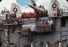 US Aircraft Carrier, Ford Island, Honolulu, Hawaii  1950s (ElectroSpark) Tags: vintage photos slides hawaii military aircraftcarrier wwii koreanwar tiki hula girls