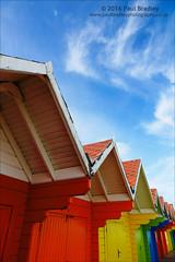 Beach Huts (ScudMonkey) Tags: beachhuts c2016paulbradley colour sky beach coast red yellow blue seaside scarborough northyorkshire canon 6d ef24105mmf4lis