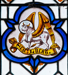 Elworthy - East Window - Bull of Luke (David Cronin) Tags: glass martin luke somerset stainedglass bull stained wingedbull saintluke elworthy thechurchesconservationtrust saintmartinoftours