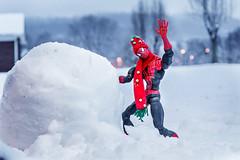 Spiderman Building a Snowman