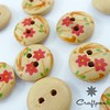 2-Holes Printed Wood Buttons, Red Flower, Light Brown, Round (10000052) (craftpon) Tags: wood idea design wooden knitting hand natural handmade buttons sewing craft jewellery made homemade organic supplies making crafting supply findings jewellry