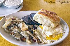 Country Breakfast (travelphotographer2003) Tags: usa breakfast restaurant potatoes sausage diner gravy biscuit westvirginia eggs eatingout cowen americanbreakfast hilltoprestaurant countrybreakfast