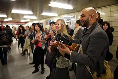 Bloor Subway Station - 5 (cookedphotos) Tags: music toronto station canon subway happy ukulele ttc sing cheer yonge bloor flashmob 5dmarkii projectukulelegangsterism