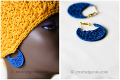 Blue Crochet Earrings (Crochet Genie) Tags: blue handmade crochet earring jewelry earrings crochetgenie crochetgeniecom