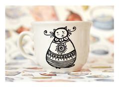 Cat Empire coffee mug (BohemianFlow's Handmade Boutique) Tags: morning cats white coffee breakfast writing cat mugs blackwhite milk hand tea painted text mug croissant teapot porcelain