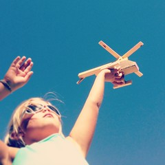 Wooden Helicopter (Hueystar) Tags: blue sky smart mobile toy wooden holding child phone 5 helicopter iphone instagram