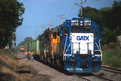 GMTX 2110 ballast train at Normal IL Sept11 (CentralILRailfan) Tags: railroad up speed train way illinois high track pacific union gang rail railway trains il amtrak crew mow normal rejected hsr freight ballast 2110 of rejections gmtx railpicturesnet maintnence railpictures
