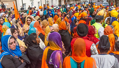 Some  of the thousands of Sikh people who joined the 2013 Vaisakhi festival parade in Southampton (Anguskirk) Tags: uk england color colour festival hampshire procession sikh gurdwara southampton turbans saris vaisakhi nagarkirtan