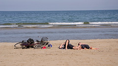 DSC_3000 (Florindo Balkan) Tags: sea sky panorama sunlight holiday beach bicycle relax spring sand widescreen rimini lovers 169 metaphysics emptyspaces nikond3100