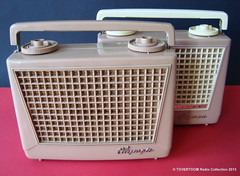 OLYMPIC Portable Tube Radios (USA 1954) (MarkAmsterdam) Tags: old classic sign metal museum radio vintage advertising design early tv portable colorful fifties tsf mark ad tube battery engineering pickup retro advertisement collection plastic equipment deck tape electronics era handheld sheet catalog booklet collectible portfolio recorder eames electrical atomic brochure console folder forties fernseher sixties transistor phono phonograph dealer cartridge carradio fashioned transistorradio tuberadio pocketradio 50s 60s musiktruhe tableradio magnetophon plaskon 40s kitchenradio meijster markmeijster markamsterdam coatradio tovertoom