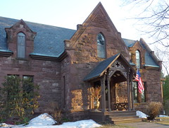 Sandstone beauty (yooperann) Tags: snow architecture sandstone arch district flag victorian places historic ridge national kelly register marquette brownstone revival ripka