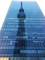 Tokyo Skytree (JujitsuYasai) Tags: sky reflection building tower window glass station japan tokyo spring high tall asakusa iphone tobu skytree iphone5