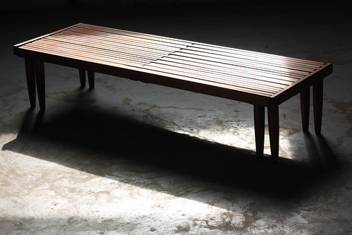 Dashing Mid Century Modern Expandable Slat Bench Coffee Table (U.S.A. 1950